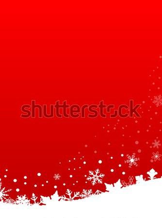 Red Snowflake Scene Stock photo © Bigalbaloo