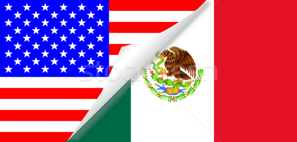 United States and Mexico Flags Combined Stock photo © Bigalbaloo