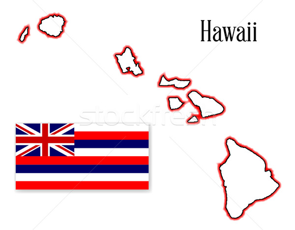 Hawaii State Map and Flag Stock photo © Bigalbaloo