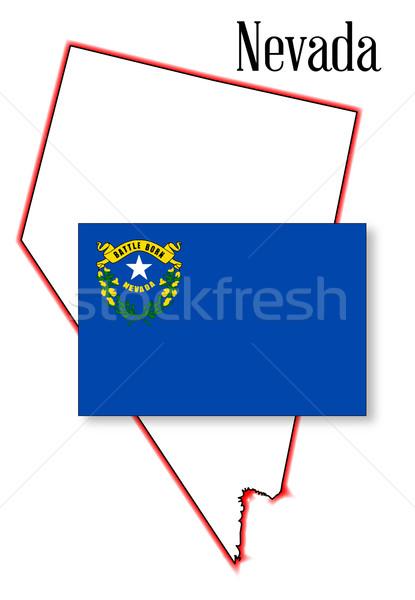 Foto stock: Nevada · mapa · bandeira · branco · gráfico