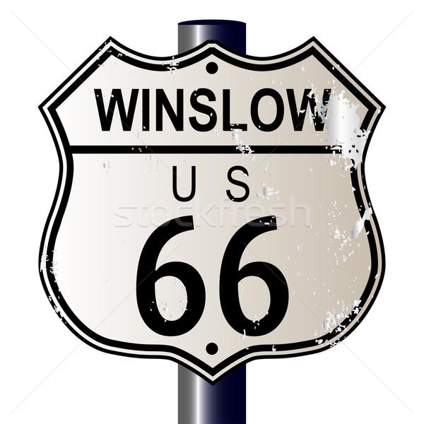 Route 66 знак дорожный знак белый легенда маршрут Сток-фото © Bigalbaloo