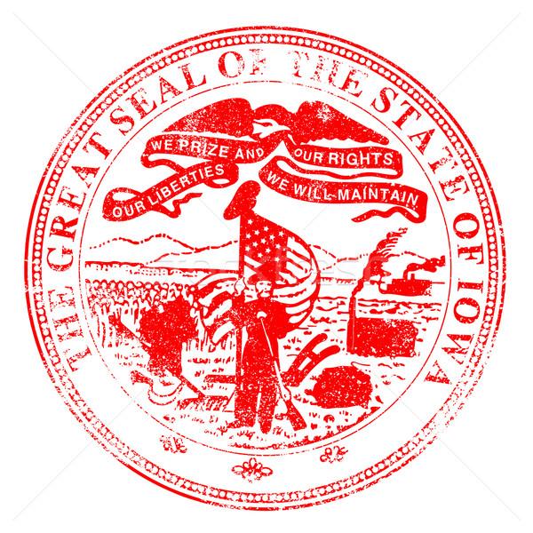 Iowa fóka bélyeg pecsét fehér piros Stock fotó © Bigalbaloo