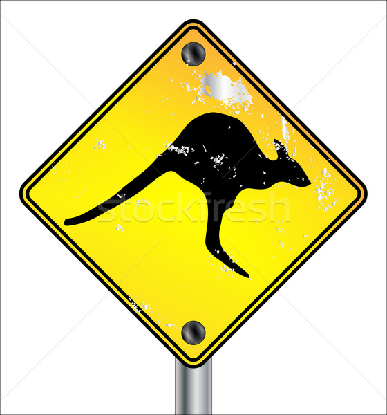 Galben cangur semna pătrat semn de trafic avarie Imagine de stoc © Bigalbaloo