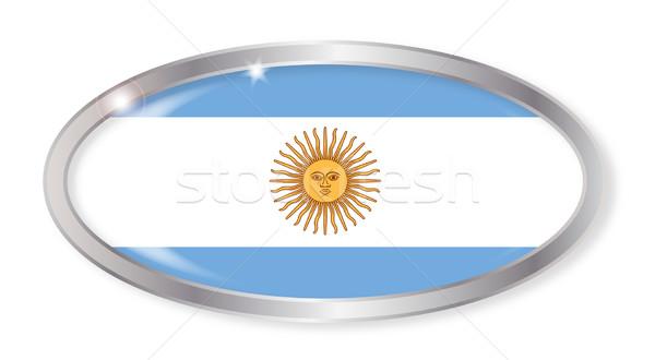 Argentína zászló ovális gomb ezüst izolált Stock fotó © Bigalbaloo