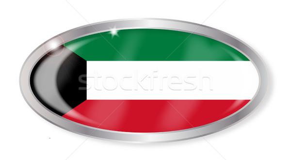 Koeweit vlag ovaal knop zilver geïsoleerd Stockfoto © Bigalbaloo