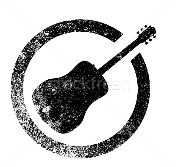 Akoestische gitaar inkt stempel rubber zwarte geïsoleerd Stockfoto © Bigalbaloo