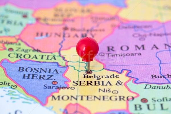 Vermelho mapa Sérvia polegar cidade Foto stock © bigandt