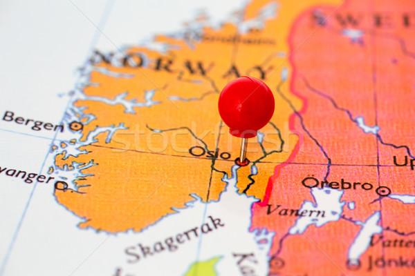 Piros térkép Norvégia hüvelykujj rajzszeg város Stock fotó © bigandt