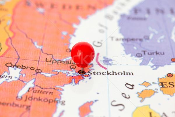 Vermelho mapa Suécia polegar cidade Foto stock © bigandt