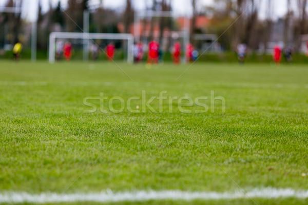サッカー ピッチ ぼやけた プレーヤー コピースペース スポーツ ストックフォト © bigandt