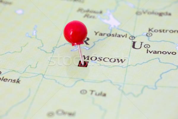 Piros térkép Oroszország hüvelykujj rajzszeg város Stock fotó © bigandt