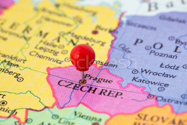 Red Pushpin on Map of Czech Republic Stock photo © bigandt