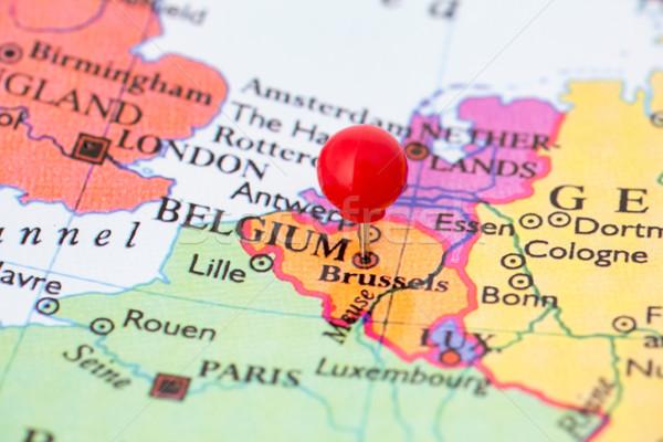Rojo mapa Bélgica pulgar Bruselas Foto stock © bigandt