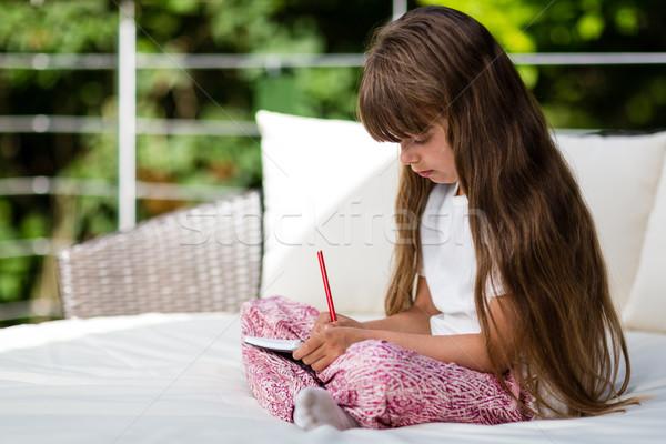 Fiatal lány ír jegyzettömb fiatal kaukázusi lány Stock fotó © bigandt