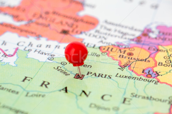Stock photo: Red Pushpin on Map of France