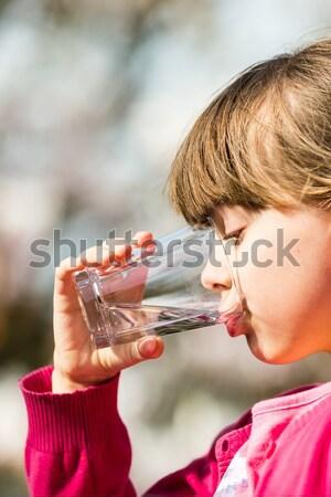 Kız içme suyu genç kafkas içme cam Stok fotoğraf © bigandt
