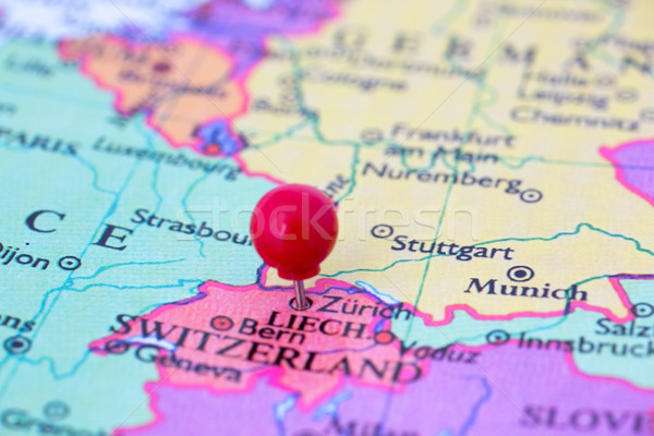 Red Pushpin on Map of Switzerland Stock photo © bigandt