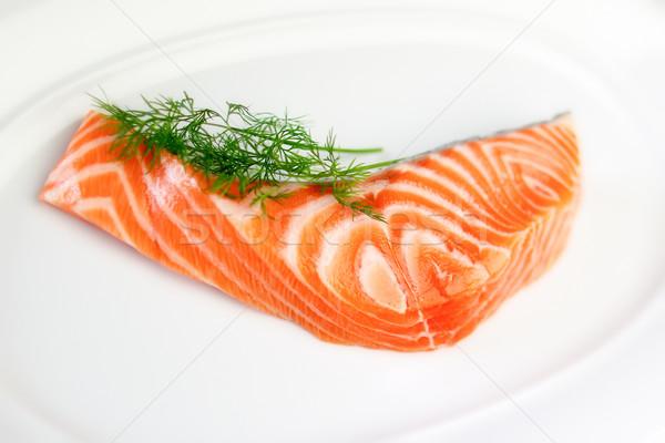 Slice of Raw Salmon Stock photo © bigandt