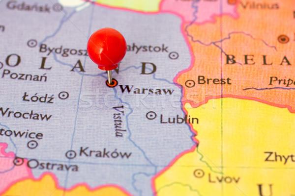 Piros térkép Lengyelország hüvelykujj rajzszeg város Stock fotó © bigandt
