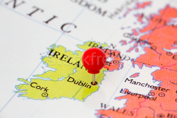 Red Pushpin on Map of Ireland Stock photo © bigandt