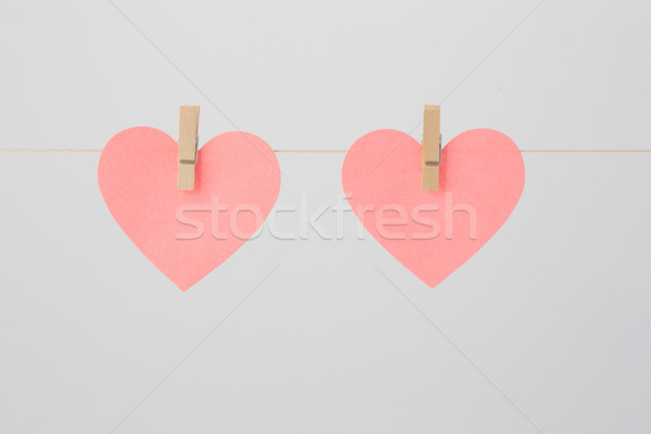 Two Heart-shaped Blank Notes Stock photo © bigandt