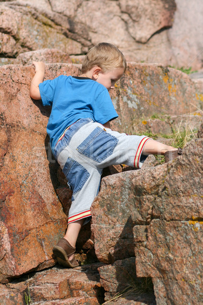 Boy Toddler Climbing a Rock Stock photo © bigandt