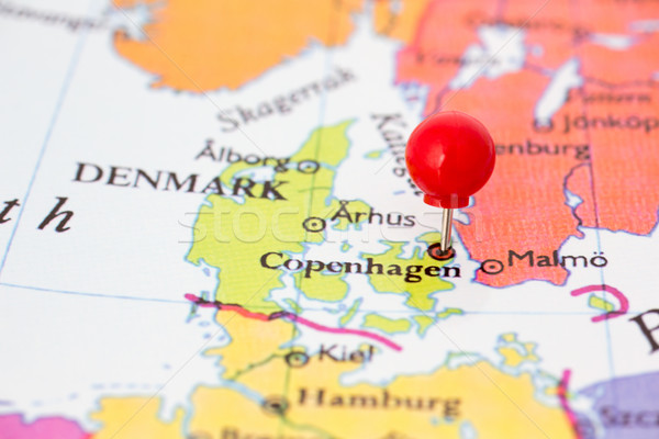 Stock photo: Red Pushpin on Map of Denmark