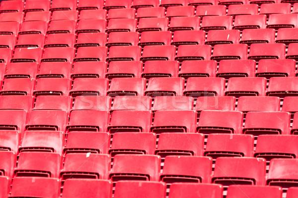 Stadion sorok piros műanyag nagy futball Stock fotó © bigandt