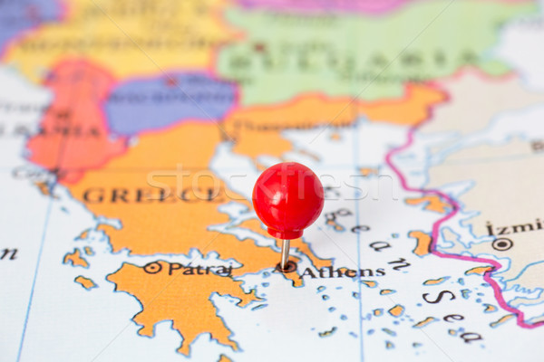 Stock photo: Red Pushpin on Map of Greece