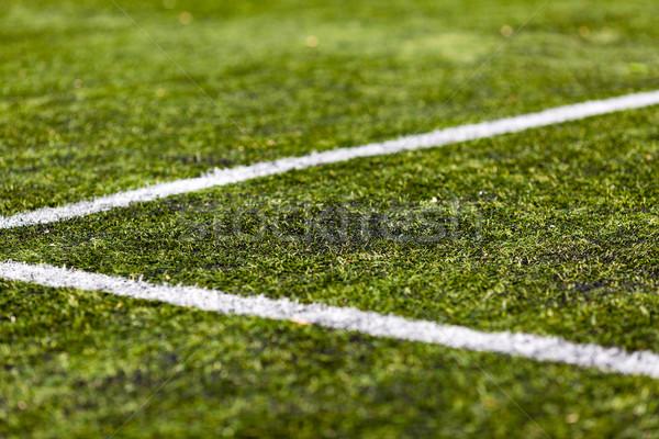行 サッカー ピッチ クローズアップ 人工的な 緑 ストックフォト © bigandt