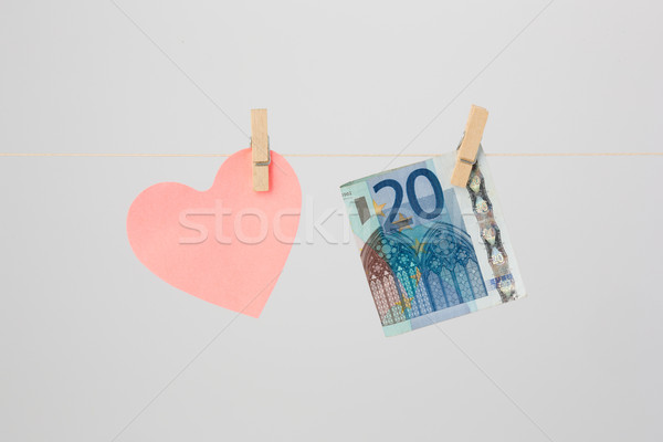 A Heart and a Euro Banknote Stock photo © bigandt