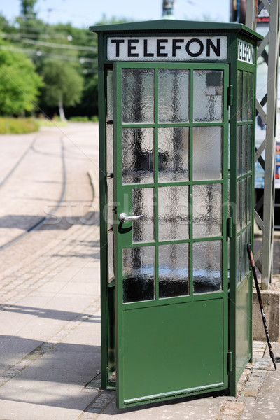 Old green phone booth Stock photo © bigandt