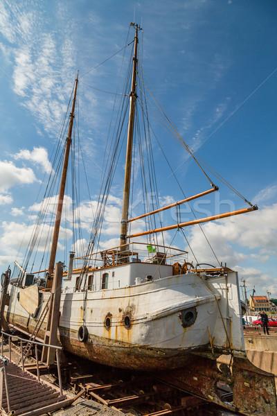 Large sailing boat in dock Stock photo © bigandt