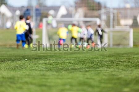 Verschwommen Fußball Kinder Kinder spielen sonnig Sommer Stock foto © bigandt