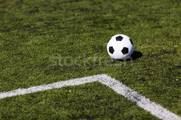 Green pitch with soccer ball Stock photo © bigandt
