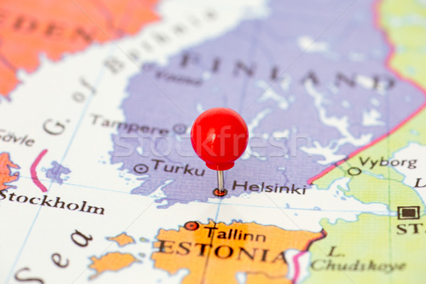 Red Pushpin on Map of Finland Stock photo © bigandt