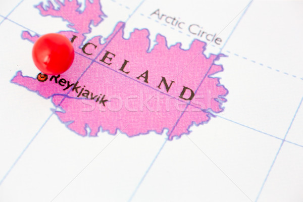 Red Pushpin on Map of Iceland Stock photo © bigandt