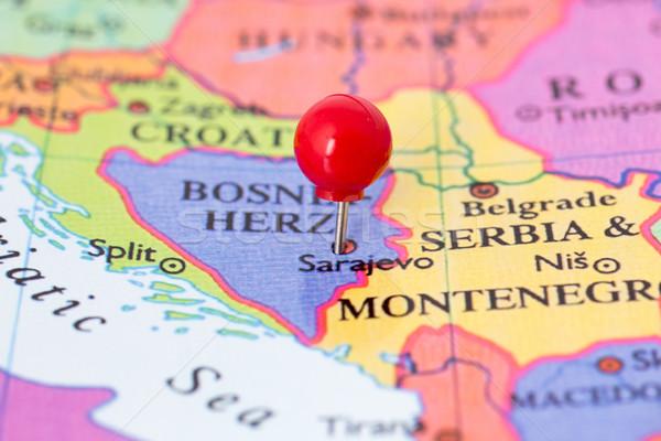 Piros térkép hüvelykujj rajzszeg város gyűjtemény Stock fotó © bigandt