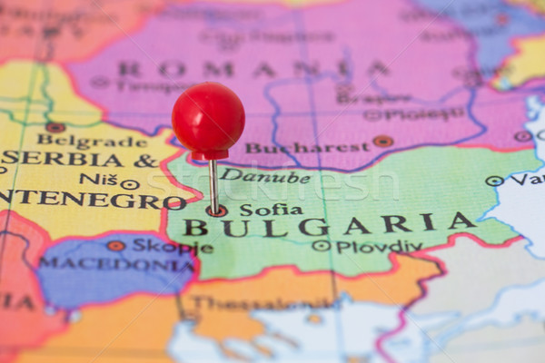 Stock photo: Red Pushpin on Map of Bulgaria