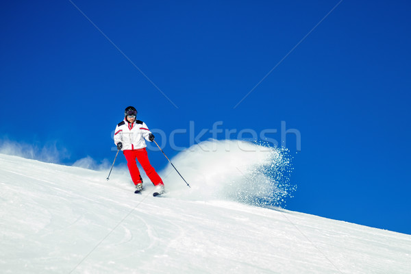 Expert Male Skier Carving Through Fresh Snow Stock photo © bigandt