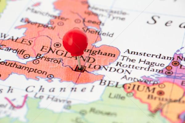 Piros térkép Anglia hüvelykujj rajzszeg város Stock fotó © bigandt