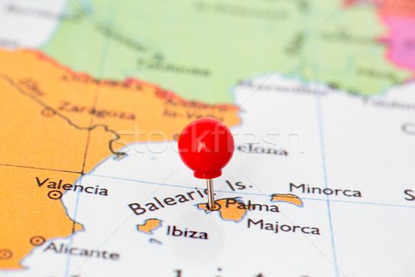 Piros térkép hüvelykujj rajzszeg város Spanyolország Stock fotó © bigandt