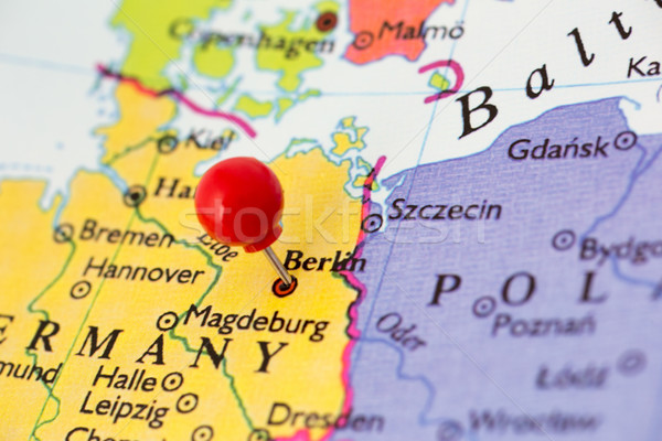 Stock photo: Red Pushpin on Map of Germany