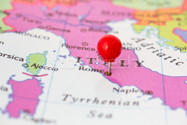 Piros térkép Olaszország hüvelykujj rajzszeg város Stock fotó © bigandt