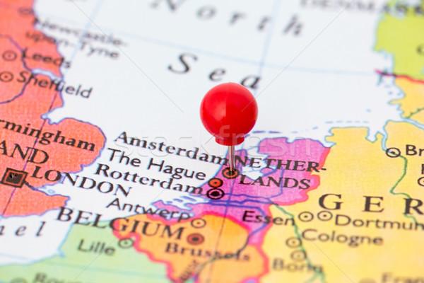 Stock fotó: Piros · térkép · Hollandia · hüvelykujj · rajzszeg · város