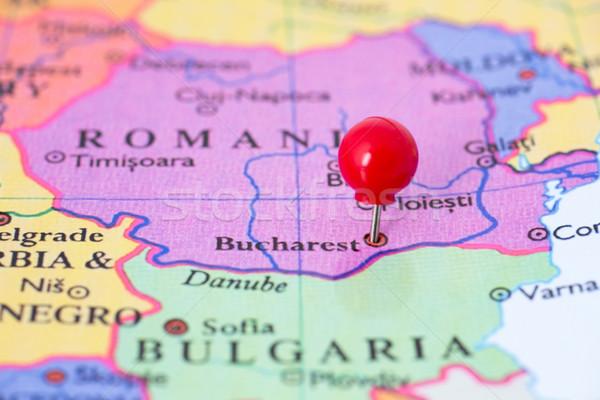 Rood kaart Roemenië duim stad Stockfoto © bigandt