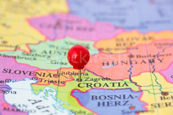 Piros térkép Horvátország hüvelykujj rajzszeg város Stock fotó © bigandt