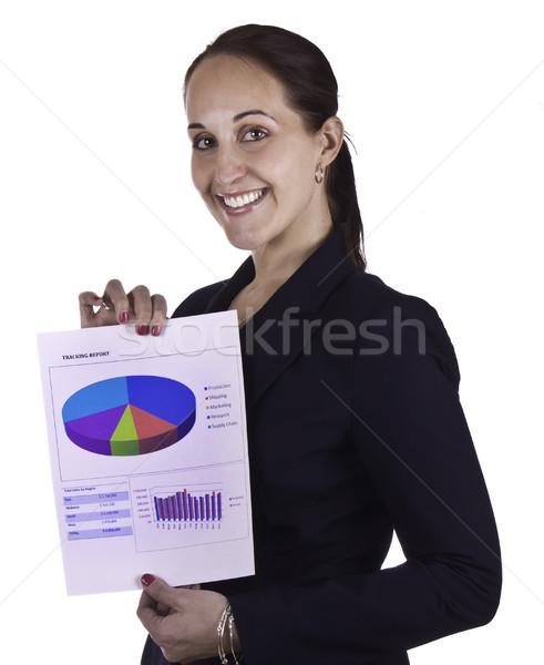 улыбаясь деловой женщины докладе документа Сток-фото © bigjohn36