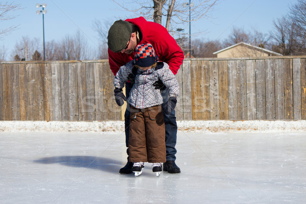 Сток-фото: отец · преподавания · сын · льда · Skate · Открытый