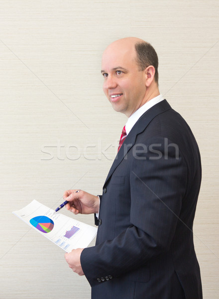 улыбаясь деловой человек документа бизнеса улыбка счастливым Сток-фото © bigjohn36